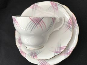 Pink & Grey Abstract tea trio